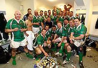 Photo: Richard Lane/Richard Lane Photography. England Legends v Ireland Legends. The Stuart Mangan Memorial Cup. 26/02/2010. Ireland celebrate victory in the changing room.