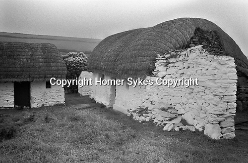 Isle of Man, 1970s. Traditional stone thatched Long House. 1978.