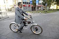 """- Milano, primo raduno internazionale dei veicoli elettrici """"E_mob2018 è  tempo di ricarica!"""". Bicicletta elettrica """"vintage"""" Italjet<br /> <br /> - Milan, the first international meeting of electric vehicles """"E_mob2018 is charging time!"""". """"Vintage"""" Italjet electric bicycle"""