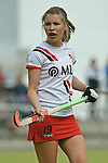 Mannheim, Germany, April 18: During the 1. Bundesliga Damen match between TSV Mannheim (white) and Mannheimer HC (red) on April 18, 2015 at TSV Mannheim in Mannheim, Germany. Final score 1-7 (1-4). (Photo by Dirk Markgraf / www.265-images.com) *** Local caption *** Antje Rink #19 of TSV Mannheim