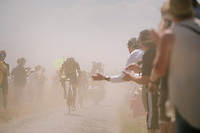 stage leader Damien Gaudin (FRA/Direct Energie) emerging from the dust on pavé sector #6<br /> <br /> Stage 9: Arras Citadelle > Roubaix (154km)<br /> <br /> 105th Tour de France 2018<br /> ©kramon