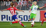 Atletico de Madrid's Carmen Menayo (l) and VfL Wolfsburg's Pernille Harden during UEFA Womens Champions League 2017/2018, 1/16 Final, 1st match. October 4,2017. (ALTERPHOTOS/Acero)