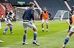 St Mirren v St Johnstone…09.05.21  Scottish Cup Semi-Final Hampden Park <br />Craig Bryson, Jason Kerr and Dvaid Wotherspoon pictured during the warm up<br />Picture by Graeme Hart.<br />Copyright Perthshire Picture Agency<br />Tel: 01738 623350  Mobile: 07990 594431