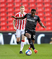 31st October 2020; Bet365 Stadium, Stoke, Staffordshire, England; English Football League Championship Football, Stoke City versus Rotherham United; Wes Harding of Rotherham United controls a loose ball