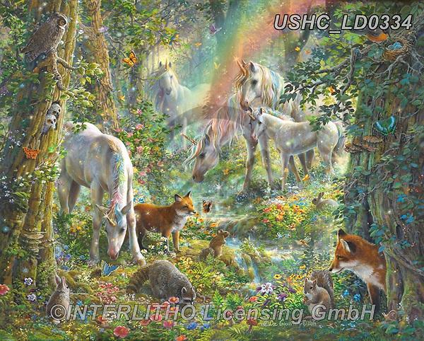 Liz,REALISTIC ANIMALS, REALISTISCHE TIERE, ANIMALES REALISTICOS, LizDillon, paintings+++++,USHCLD0334,#A#, EVERYDAY ,wildlife,raccons,fox,unicorns,fantasy