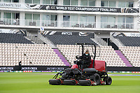 The ground staff worked tirelessly to mop up from the heavy rains during India vs New Zealand, ICC World Test Championship Final Cricket at The Hampshire Bowl on 22nd June 2021