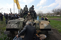 Ukrainian forces are being blocked by local citizens near Kramatorsk city during the anti-terrorist operation. Kramatorsk, Ukraine. April 8, 2014