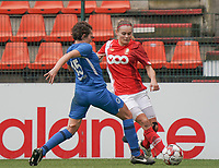 Genk's Lotte Van Den Steen (15) and Standard's Sylke Calleeuw (9) battle for the ball during a female soccer game between Standard Femina de Liege and KRC Genk Ladies  on the third matchday of the 2020 - 2021 season of Belgian Womens Super League , Saturday 3 rd of October 2020  in Liege , Belgium . PHOTO SPORTPIX.BE   SPP   SEVIL OKTEM