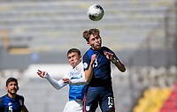 GUADALAJARA, MEXICO - MARCH 18: Sam Vines #13 of the United States heads a ball during a game between Costa Rica and USMNT U-23 at Estadio Jalisco on March 18, 2021 in Guadalajara, Mexico.