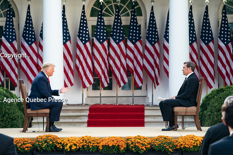 Sinclair Broadcast Group Town Hall Event<br /> <br /> President Donald J. Trump participates in a Sinclair Broadcast Group town hall event Tuesday, Oct. 20, 2020, in the Rose Garden of the White House. (Official White House Photo by Joyce N. Boghosian)