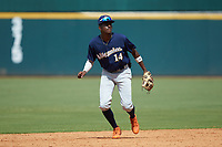 Shortstop Michael Braswell (14) of Campbell HS in Mableton, GA playing for the Milwaukee Brewers scout team during the East Coast Pro Showcase at the Hoover Met Complex on August 2, 2020 in Hoover, AL. (Brian Westerholt/Four Seam Images)