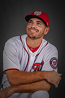 22 February 2019: Washington Nationals infielder Jake Noll poses for his Photo Day portrait at the Ballpark of the Palm Beaches in West Palm Beach, Florida. Mandatory Credit: Ed Wolfstein Photo *** RAW (NEF) Image File Available ***