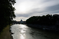 A view of the Tiber river with St Peter's dome in the background during Italy's lockdown due to Covid-19 pandemic. <br /> Rome 30/04/2020 <br /> Photo Andrea Staccioli Insidefoto