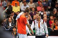 06-04-12, Netherlands, Amsterdam, Tennis, Daviscup, Netherlands-Rumania, Thomas Schoorel met captain Jan Siemerink