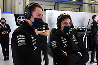 13th November 2020; Istanbul Park, Istanbul, Turkey; FIA Formula One World Championship 2020, Grand Prix of Turkey, Free practise sessions;  Stoffel Vandoorne BEL speaks with Toto Wolff AUT, Mercedes AMG Petronas Motorsport