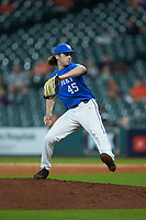 Kentucky Wildcats relief pitcher Aaron McGeorge (45) in action against the Louisiana Ragin' Cajuns in game seven of the 2018 Shriners Hospitals for Children College Classic at Minute Maid Park on March 4, 2018 in Houston, Texas.  The Wildcats defeated the Ragin' Cajuns 10-4. (Brian Westerholt/Four Seam Images)