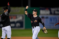 Batavia Muckdogs Troy Johnston (27) high fives Andrew Turner after a NY-Penn League Semifinal Playoff game against the Lowell Spinners on September 4, 2019 at Dwyer Stadium in Batavia, New York.  Batavia defeated Lowell 4-1.  (Mike Janes/Four Seam Images)