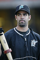 Mike Lowell of the Florida Marlins before a 2002 MLB season game against the Los Angeles Dodgers at Dodger Stadium, in Los Angeles, California. (Larry Goren/Four Seam Images)