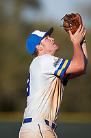 South Dakota State Jackrabbits third baseman Matthew Krambeck (23) catches a popup during a game against the Northeastern Huskies on February 23, 2019 at North Charlotte Regional Park in Port Charlotte, Florida.  Northeastern defeated South Dakota State 12-9.  (Mike Janes/Four Seam Images)