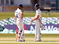 Heion Kuhn (L) and Ollie Robinson of Kent in discussion during Kent CCC vs Lancashire CCC, LV Insurance County Championship Group 3 Cricket at The Spitfire Ground on 24th April 2021