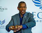 """HALLANDALE BEACH, FL - JAN 28: NFL Hall of Famer Tony Dorsett shows off his Super Bowl and Heisman Trophy rings on the """"red carpet"""" during the Pegasus World Cup Invitational Day at Gulfstream Park Race Course on January 28, 2017 in Hallandale Beach, Florida. (Photo by Scott Serio/Eclipse Sportswire/Getty Images)"""