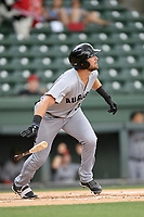 Left fielder T.J. Bennett (33) of the Augusta GreenJackets bats in a game against the Greenville Drive on Thursday, May 17, 2018, at Fluor Field at the West End in Greenville, South Carolina. Augusta won, 2-1. (Tom Priddy/Four Seam Images)