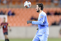 Houston, TX - Friday December 9, 2016: Walker Hume, (37) of the North Carolina Tar Heels looks to control a loose ball against the Stanford Cardinal at the NCAA Men's Soccer Semifinals at BBVA Compass Stadium in Houston Texas.
