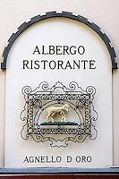 Dettaglio della facciata del ristorante ed albergo Agnello d'Oro a Bergamo.<br /> Detail of the facade of the Agnello d'Oro restaurant and hotel in Bergamo.<br /> UPDATE IMAGES PRESS/Riccardo De Luca