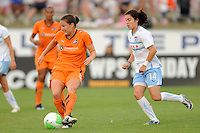 Kendall Fletcher (5) of Sky Blue FC plays the ball. The Chicago Red Stars defeated Sky Blue FC 2-1 during a Women's Professional Soccer (WPS) match at Yurcak Field in Piscataway, NJ, on August 01, 2010.