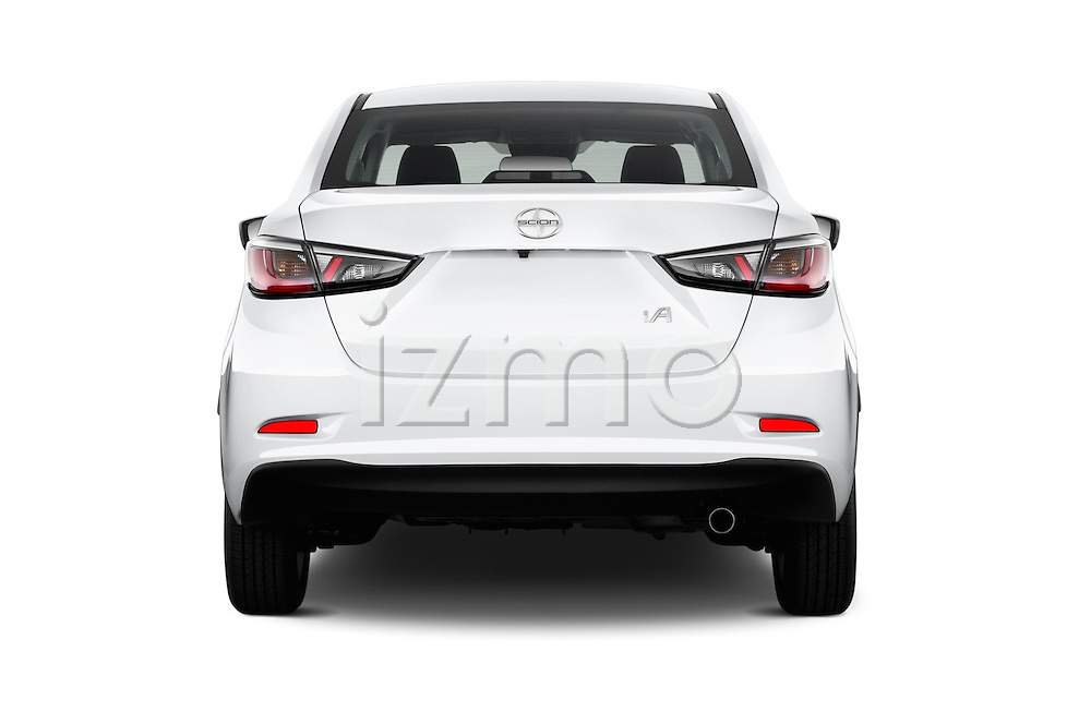 Straight rear view of 2016 Scion iA 4 Door Sedan Rear View  stock images