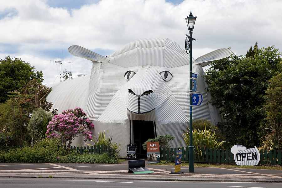 Coffee Shop  of Corrugated Iron Representing a Sheep,  Tirau, north island, New Zealand.