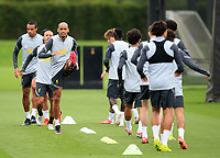 14th September 2021: The  AXA Training Centre, Kirkby, Knowsley, Merseyside, England: Liverpool FC training ahead of Champions League game versus AC Milan on 15th September: Fabinho of Liverpool warms up with his team mates