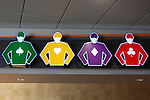 Jockey signs above the entrance of the gaming room at Oaklawn Park in Hot Springs, Arkansas on January 20, 2014. (Credit Image: © Justin Manning/Eclipse/ZUMAPRESS.com)