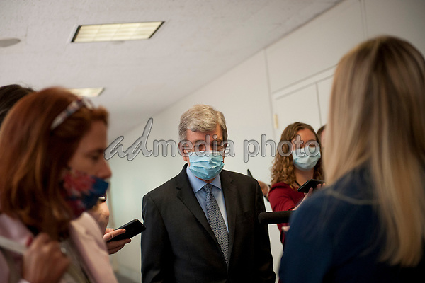 United States Senator Roy Blunt (Republican of Missouri) fields questions from reporters as he arrives for the GOP luncheon in the Hart Senate Office Building on Capitol Hill in Washington, DC., Tuesday, June 16, 2020. <br /> Credit: Rod Lamkey / CNP/AdMedia