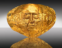 Gold Death Mask Known from Grave IV, Grave Circle A, Mycenae. 16th Century BC. The mask is made of a thin sheet of beaten gold . 16th century BC. Cat No 254 Athens Archaeological Museum.