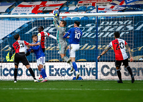 31st October 2020; The Kiyan Prince Foundation Stadium, London, England; English Football League Championship Football, Queen Park Rangers versus Cardiff City; Goalkeeper  Alex Smithies of Cardiff City busy defending high