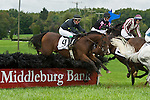 1 October 2011: Rainiero and Matt McCaroron (#9) win the Bon Nouvel hurdle race at Virginia Fall Races in Middleburg, Va. Rainiero is owned by Augustine Stables and trained by Richard Valentine. Susan M. Carter/Eclipse Sportswire