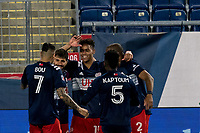 FOXBOROUGH, MA - APRIL 24: Brando Bye #15 of New England Revolution celebrates his goal with teammates during a game between D.C. United and New England Revolution at Gillette Stadium on April 24, 2021 in Foxborough, Massachusetts.
