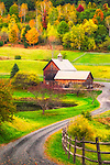 Image of Vermont barn with colorful fall trees