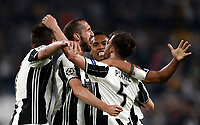 Football Soccer: UEFA Champions UEFA Champions League quarter final first leg Juventus-Barcellona, Juventus stadium, Turin, Italy, April 11, 2017. <br /> Juventus Giorgio Chiellini (c) celebrates with his teammates after scoring during the Uefa Champions League football match between Juventus and Barcelona at the Juventus stadium, on April 11 ,2017.<br /> UPDATE IMAGES PRESS/Isabella Bonotto
