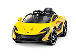 Little McLaren P1TM electric car for kids battery powered toy supercar isolated on white background with clipping path Image © MaximImages, License at https://www.maximimages.com