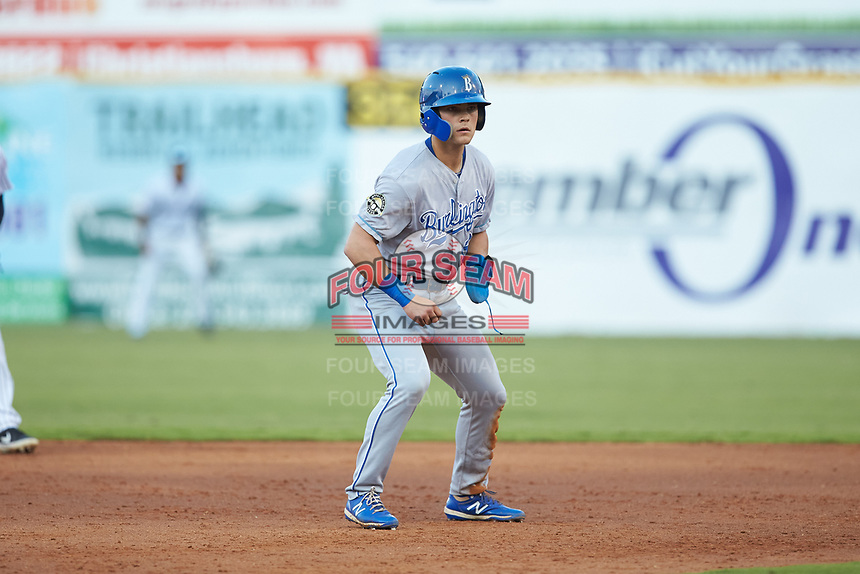 Michael Massey (6) of the Burlington Royals takes his lead off of second base against the Pulaski Yankees at Calfee Park on September 1, 2019 in Pulaski, Virginia. The Royals defeated the Yankees 5-4 in 17 innings. (Brian Westerholt/Four Seam Images)