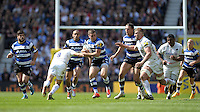 George Ford of Bath Rugby forces his way past Richard Wigglesworth of Saracens during the Aviva Premiership Rugby Final between Bath Rugby and Saracens at Twickenham Stadium on Saturday 30th May 2015 (Photo by Rob Munro)
