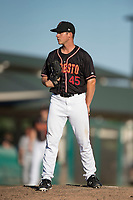 Modesto Nuts relief pitcher Colin Rodgers (45) looks to his catcher for the sign during a California League game against the San Jose Giants at John Thurman Field on May 9, 2018 in Modesto, California. San Jose defeated Modesto 9-5. (Zachary Lucy/Four Seam Images)
