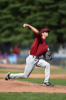 Mahoning Valley Scrappers pitcher Kieran Lovegrove (38) delivers a pitch during a game against the Jamestown Jammers on June 15, 2014 at Russell Diethrick Park in Jamestown, New York.  Jamestown defeated Mahoning Valley 9-4.  (Mike Janes/Four Seam Images)