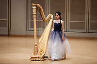 Yuet Kan performs during the Stars of Tomorrow Concert at the 11th USA International Harp Competition at Indiana University in Bloomington, Indiana on Thursday, July 11, 2019. (Photo by James Brosher)