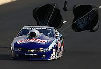 Jul. 20, 2013; Morrison, CO, USA: NHRA pro stock driver Jason Line during qualifying for the Mile High Nationals at Bandimere Speedway. Mandatory Credit: Mark J. Rebilas-