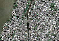 aerial photo map of Manhattan and the Bronx, New York City