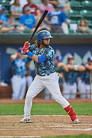 Ronny Brito (5) of the Ogden Raptors bats against the Billings Mustangs at Lindquist Field on August 17, 2018 in Ogden, Utah. Billings defeated Ogden 6-3. (Stephen Smith/Four Seam Images)