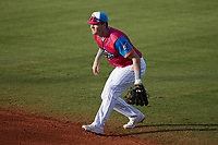 Pescados de Carolina second baseman Tyler Black (9) on defense against the Delmarva Shorebirds at Five County Stadium on September 4, 2021 in Zebulon, North Carolina. (Brian Westerholt/Four Seam Images)